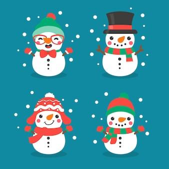 Wektor kreskówka bałwana. kule śnieżne uformowane w bałwana. udekoruj zimowymi swetrami na boże narodzenie.