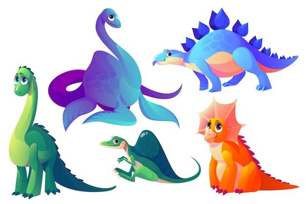 Wektor kreskówka dinozaury kopalne zwierzęta