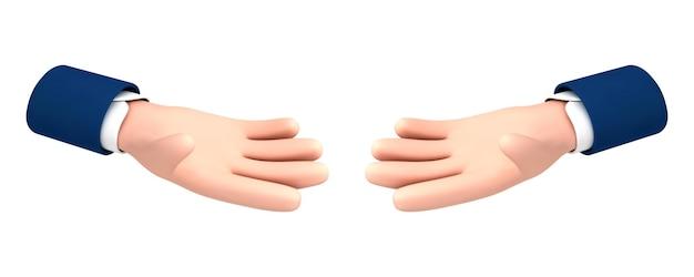 Wektor kreskówka dwie wyciągnięte ręce dłoni na białym tle. wektor kreskówka gest ręki w stylu kreskówki