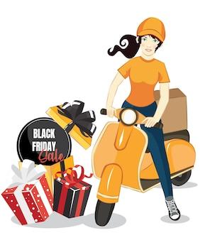 Wektor kreskówka dziewczyna jazda skuterem. pakiet dostawy usługi plakat tło. czarny piątek sprzedaż szablon.