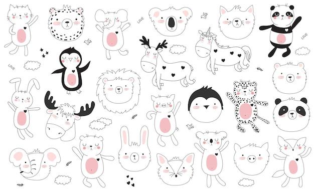 Wektor kreskówka kolekcja naklejek z uroczymi zwierzętami doodle i motywacją napis frazę