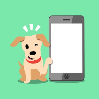 Wektor kreskówka labrador pies i smartphone