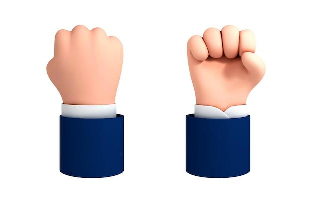 Wektor kreskówka ludzką ręką gest pięści. walka lub protest clipart na białym tle. ikona siły