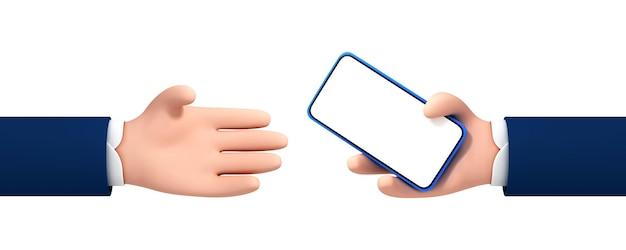 Wektor kreskówka mężczyzna ręka daje smartfon do ręki innej osoby. kreskówka ręka trzyma smartphone na białym tle.