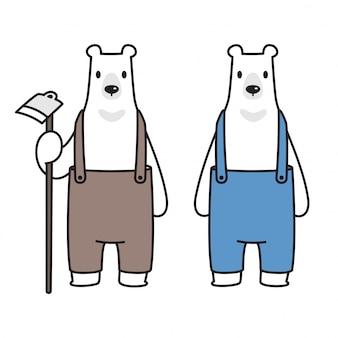 Wektor kreskówka niedźwiedź polarny rolnik