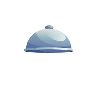Wektor kreskówka płaska taca cloche na białym tle na pustym tle-restauracja i kawiarnia zastawa stołowa, koncepcja gastronomiczna, projektowanie banerów witryny sieci web