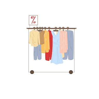 Wektor kreskówka płaski wieszak na ubrania z różnych modnych strojów. sukienki i marynarki po obniżonych cenach na białym tle na puste tło-odzież sklep koncepcji, projektowanie banerów witryny sieci web