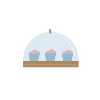 Wektor kreskówka płaskie ciasta na talerzu pod przezroczystą pokrywą na białym tle na pusty sklep ze słodyczami, dania restauracji i kawiarni, koncepcja usługi dostawy żywności, projektowanie banerów witryny sieci web