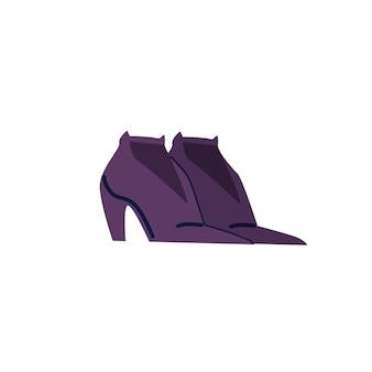 Wektor kreskówka płaskie modne buty na wysokim obcasie. nowe modne piękne obuwie na białym tle na pusty sklep obuwniczy tło odzież, zakupy i moda koncepcja, projektowanie banerów witryny sieci web
