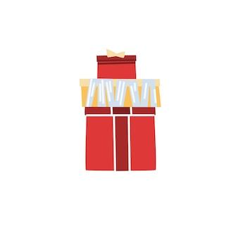 Wektor kreskówka płaskie pudełka na prezenty. zdobione kartony o różnej wielkości z prezentami na białym tle na puste tło wakacje koncepcja celebracja, projektowanie banerów witryny sieci web
