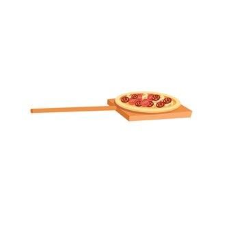 Wektor kreskówka płaskie składniki-pomidor, kiełbasa, plastry grzyba na drewniane wiosło na białym tle na pustym tle zrównoważonej diety, zdrowego odżywiania i gotowania koncepcji, projektowanie banerów witryny sieci web