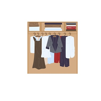 Wektor kreskówka płaskie ubrania szafa z różnych modnych strojów. sukienki i marynarki w komodzie na białym tle na puste tło-odzież sklep koncepcja, projektowanie banerów witryny sieci web
