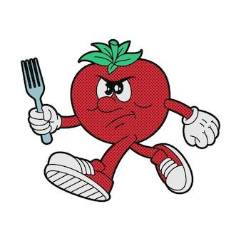 Wektor kreskówka pomidor na białym tle