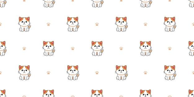 Wektor kreskówka postać egzotyczny kot krótkowłosy wzór tła dla projektu.