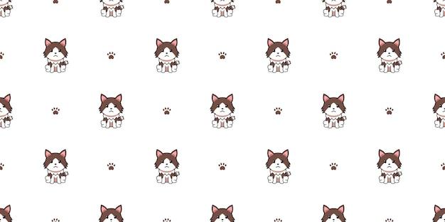 Wektor kreskówka ragamuffin kot bezszwowe tło wzór dla projektu.
