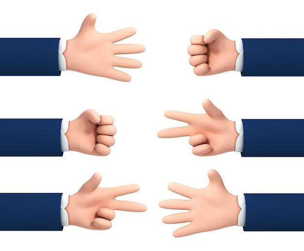 Wektor kreskówka ręce co rock nożyczki papier na białym tle. proces gry ręczne nożyczki z papieru skalnego. zestaw gestów rąk.