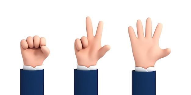 Wektor kreskówka ręce co rock nożyczki papier na białym tle. zestaw gestów rąk