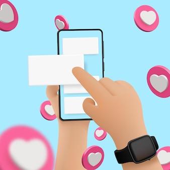 Wektor kreskówka ręce z inteligentnego telefonu, przewijanie lub wyszukiwanie czegoś, na białym tle na niebieskim tle. tło mediów społecznościowych, serce wektor.