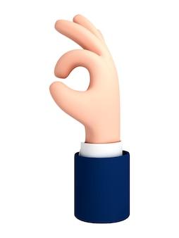 Wektor kreskówka ręka co ok gest na białym tle
