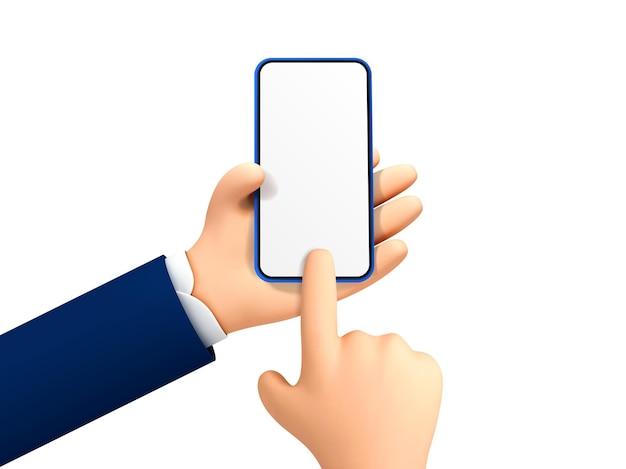 Wektor kreskówka ręka trzyma i dotykając telefonu makieta szablonu. kreskówka ręce ze smartfonem, przewijanie lub wyszukiwanie czegoś.