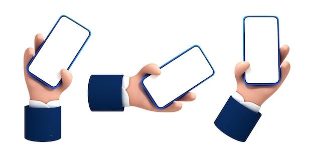 Wektor kreskówka ręka trzyma smartphone z biały pusty ekran na białym tle.