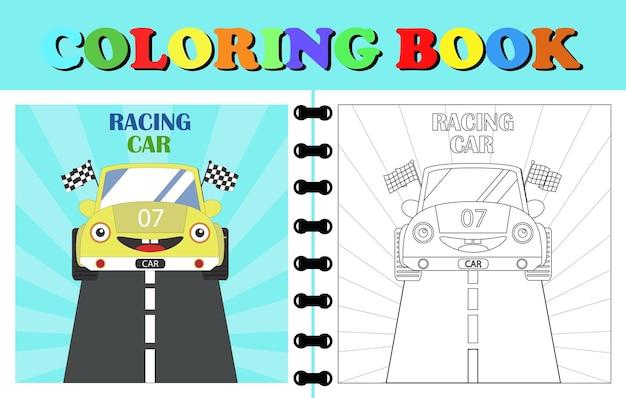 Wektor kreskówka samochód wyścigowy kolorowanka lub strony