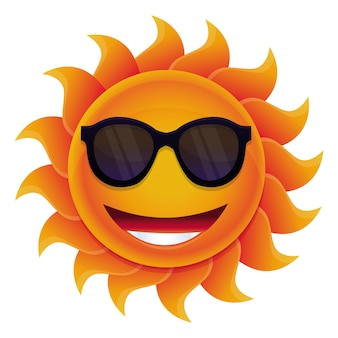 Wektor kreskówka słońce - z kręgu twarzy i hipster okulary