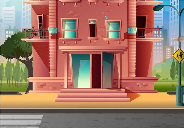 Wektor kreskówka styl nowoczesny wielokondygnacyjny budynek wejście, architektura w stylu kreskówki. z przejściem drogowym i znakiem szkoły.