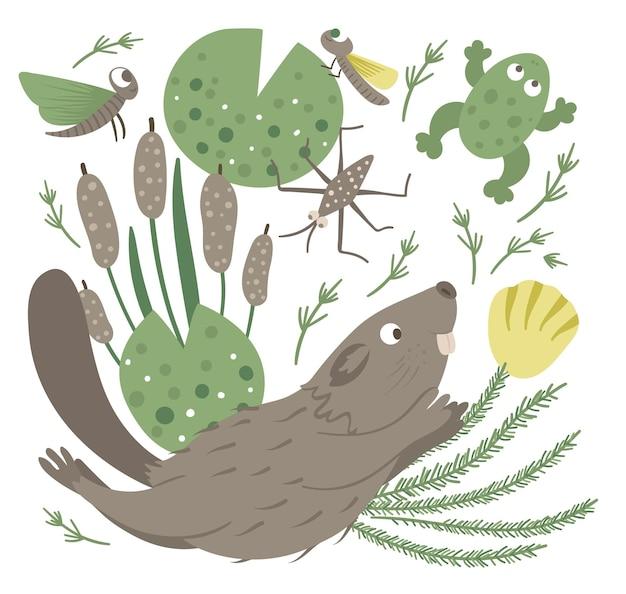 Wektor kreskówka styl płaski zabawny pływanie bóbr z żabą trzciny wodne owady clipart