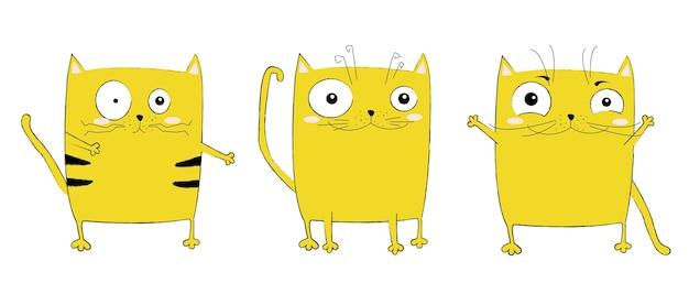 Wektor kreskówka szkic zabawny kot ilustracja z ładny napis frazę