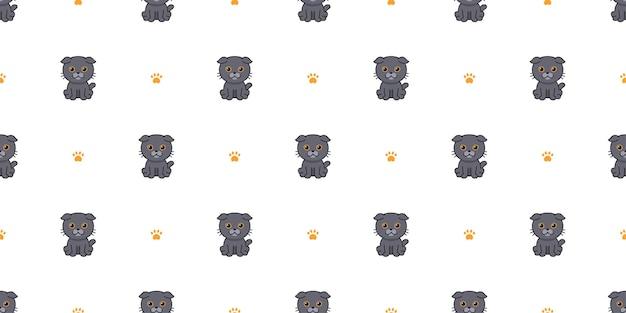 Wektor kreskówka szkocki zwisłouchy kot bezszwowe tło wzór dla projektu.