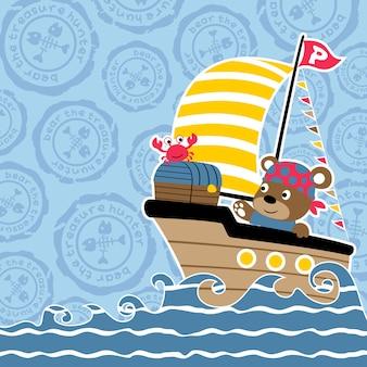 Wektor kreskówka żeglarstwo
