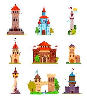 Wektor kreskówka zestaw bajkowego zamku, średniowieczne wieże. różne fantasy i gotyckie zamki i cytadele, z bajecznymi elementami, do naklejek i ilustracji dla dzieci.