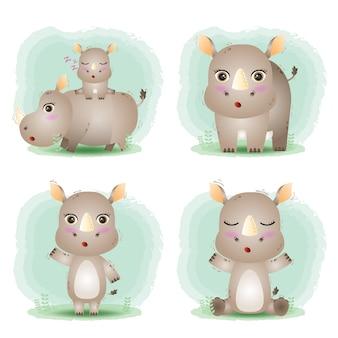Wektor kreskówka zestaw ładny nosorożec
