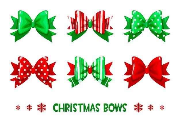 Wektor kreskówka zestaw świąteczny zielono-czerwony prezent łuki