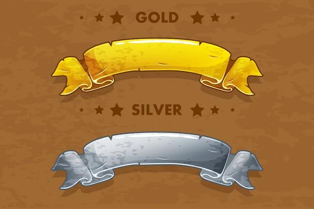 Wektor kreskówka złote i srebrne wstążki