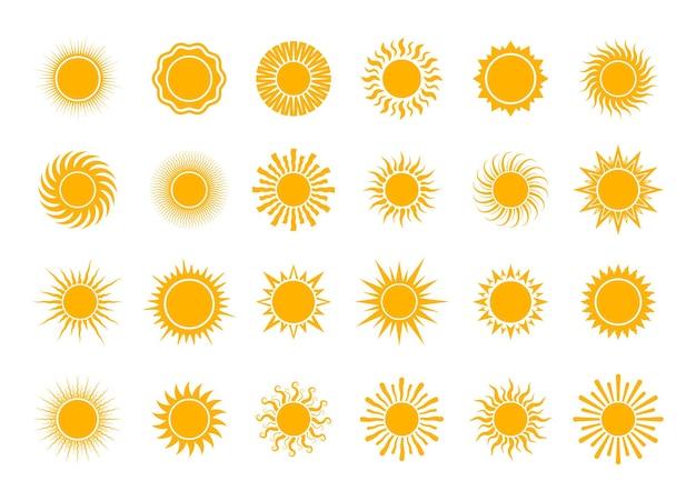 Wektor kreskówka żółte słońce lato światło słoneczne natura niebo