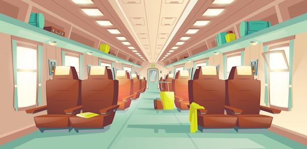 Wektor kreskówki wnętrza pociągu pasażerskiego wagonu