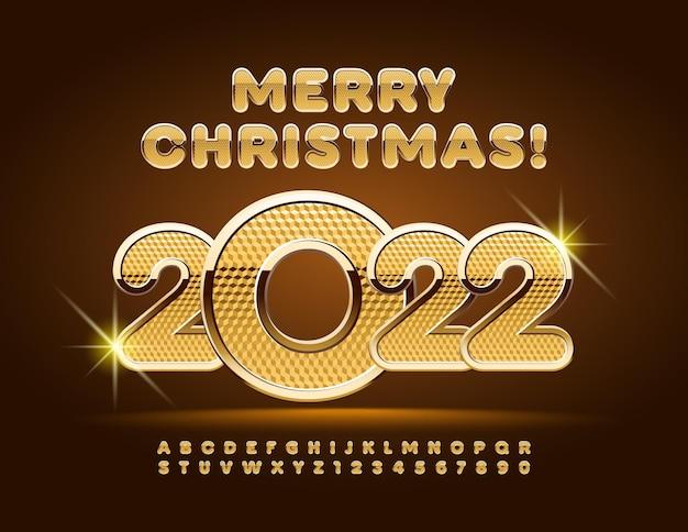 Wektor królewski kartkę z życzeniami wesołych świąt 2022 złote teksturowanej czcionki litery alfabetu i cyfr