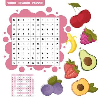 Wektor krzyżówka kolor, edukacja gra dla dzieci o tropikalnych owocach. puzzle wyszukiwania słów