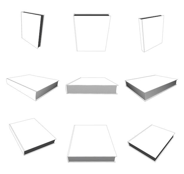 Wektor książka makieta z pustą okładką, ilustracja szablon na białym tle.