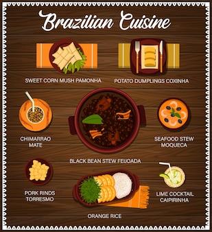 Wektor kuchni brazylijskiej brazylijskie posiłki z kreskówek menu