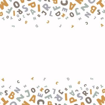 Wektor kwadratowy transparent z kolorowymi angielskimi literami latać na białym tle z miejscem na tekst