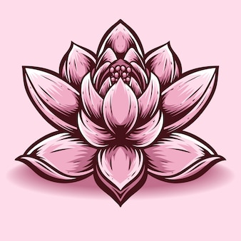 Wektor kwiat lotosu i logo