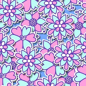 Wektor kwiatki. bezszwowa botaniczna tekstura. kreskówka kwiaty.