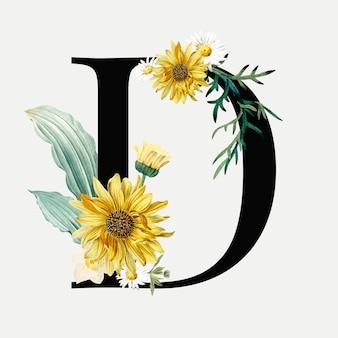 Wektor kwiatowy alfabet d wektor typografii