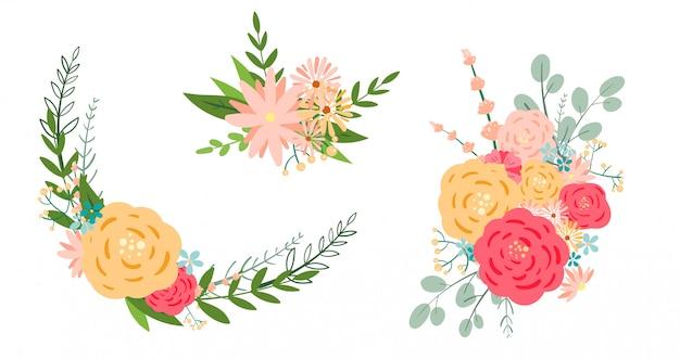 Wektor kwiatowy bukiet romantyczny, botaniczny clipart.
