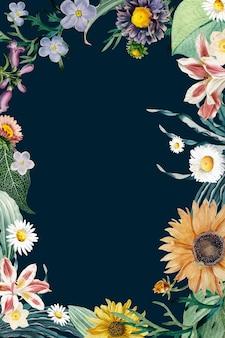Wektor kwiatowy granicy rocznika rama
