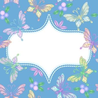 Wektor kwiatowy koronki rama z motylami