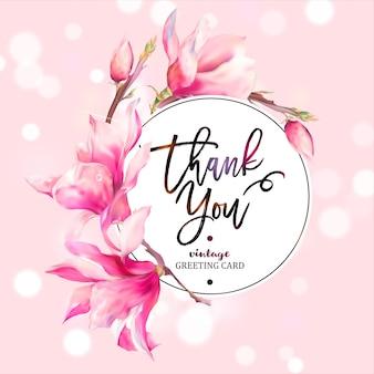Wektor kwiatowy magnolia wiosna kartkę z życzeniami
